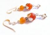 Carnelian Gemstone Sterling Silver Earrings, Stone Beads
