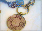 Keychain w Authentic Gucci monogram canvas Upcycle, Repurpose, H