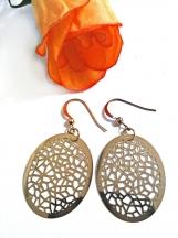 Oval Earrings, Gold Earrings, Filigree Earrings, Latice Design
