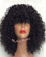 "14, 16, 18"" Med kinky Lace Front color 1, 1B Natural"