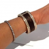 Crystal Double Row Bracelet w Authentic Louis Vuitton upcycle
