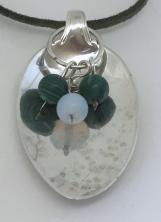 Sterling Silver Spoon Pendant/Malachite & Moonstone