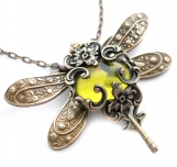 Olive Divine - Jeweled dragonfly antique brass filigree necklace