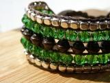 Meadow Cuff, Hand Beaded Cuff, Beaded Bracelet, Glass, Wood, Metal, Green, Handmade, Vegan, Colorful, Bead Weaving, Birthday Gift, Vacation