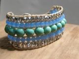 Seafoam Cuff, Blue, Green, Silver, Beaded Cuff, Hand Beaded, Bead Weaving. Glass Beads, Summer, Fresh, Vegan, Birthday Gift, Friend Gift