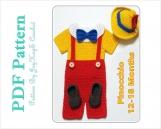 Crochet Pattern Pinocchio Costume 12-18 Months Outfit Diaper Set