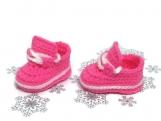 Sneakers Baby Girl Crochet Pink White Shoes Newborn Booties