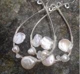 Keshi pearl..moonstone..sterling silver wire wraped hoops