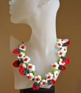 Freeform Crochet strawberries necklace PDF pattern