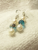 Sterling Silver, Pearls and Blue Glass Earrings