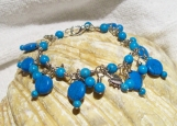 Beautiful Genuine Turquoise Gemstone Discs, Beads and Silver Hearts Bracelet