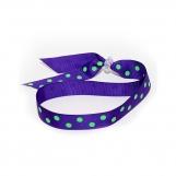 Adjustable Headband - Purple with Lime Dots