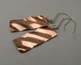 Rectangular Copper Ripple Earrings