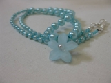 BlueGreen Glass Pearl Necklace