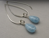 Aquamarine and Sterling Silver Earrings � Long Earwires