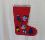 Christmas Stocking with Blue Decorations