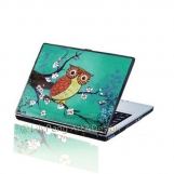 Owl Cherry Blossom Laptop Decal