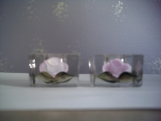 SALE FREE SHIPPING rose glass candle holder
