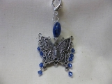 Silver Butterfly Handbag Charm with Sapphire Blue Crystals