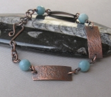 Antiqued Copper and Amazonite Bracelet