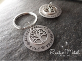 Handstamped Personalized Family Tree Custom Name Keychain