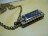 Hohner Miniature Harmonica Necklace on Vintage 1970's Brass Cabl