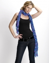 Casual colourful hand-knitted scarf