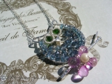 JUMA Jewelry - Nocturnal Theme- Hootie In Hawaii Necklace London Blue Topaz, Pink Topaz, Chrome Green Diopside
