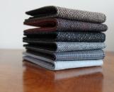 Mens 5 Pocket Billfold Wallet in Brown Herringbone Wool