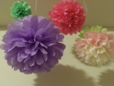 20 Tissue Paper Pom Poms, you pick colors