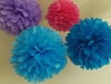 6 Tissue Paper Pom Poms, you pick colors