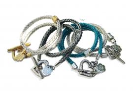 Wrap braided charm bracelet